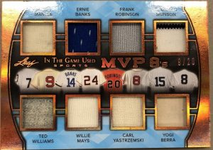 MVP 8s Relics Mickey Mantle, Ernie Banks, Frank Robinson, Thurmon Munson, Ted Williams, Willie Mays, Carl Yastrzemski, Yogi Berra