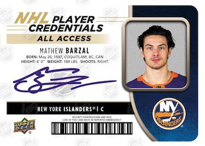 NHL Player Credentials Auto Mathew Barzal