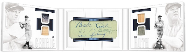 Babe Ruth, Lou Gehrig Dual Cut Signature Materials Book