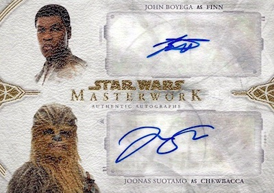 Dual Auto John Boyega as Finn & Joonas Suotamo as Chewbacca
