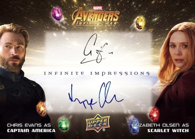 Infinite Impressions Dual Auto Chris Evans as Captail America, Elizabeth Olsen as Scarlet Witch