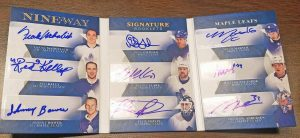 9-Way Signature Booklet Frank Mahovlich, Red Kelly, Johnny Bower, Doug Gilmour, Wendel Clark, Felix Potvin, Mitch Marner, William Nylander, Frederik Andersen