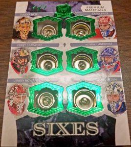 Cup Sixes Grren Foil Buttons Tuukka Rask, Corey Crawford, Jimmy Howard, Carey Price, Henrik Lundqvist, Frederik Andersen