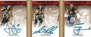 Legends of the NHL Triple-Signed Booklet Jaromir Jagr, Mario Lemieux, Tom Barrasso