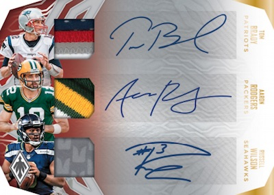 Triple Patch Auto Tom Brady, Aaron Rodgers, Russell Wilson