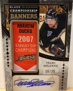 Championship Banners Gold Auto Manufactured Relics Teemu Selanne