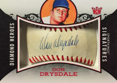 Diamond Heroes Signed Baseball Cut Signature Sketch Don Drysdale