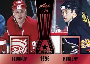 Leaf Gold All-Stars Dual Relics Sergie Fedorov, Alexander Mogilny MOCK UP