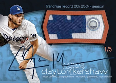 On This Day Autographed Patch Clayton Kershaw