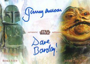 Dual Auto David Barclay as Jabba the Hut, Jeromy Bulloch as Boba Fett