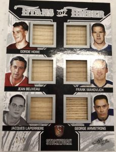 Titans of Timber Gordie Howe, Tim Horton, Jean Beliveau, Frank Mahovlich, Jacques Lapperier, George Armstrong