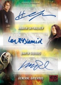 Triple Autographs Hayden Christensen as Anakin Skywalker, Ian McDiarmid as Darth Sidious, & Matthew Wood as General Grievous