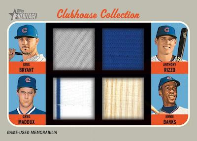 Clubhouse Collection Quad Relics Kris Bryant, Greg Maddux, Amthony Rizzo. Ermie Banks