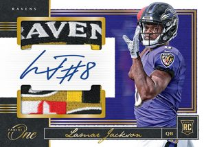 Rookie Dual Patch Auto Gold Lamar Jackson