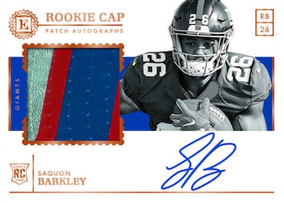 Rookie Cap Patch Auto Saquon Barkley