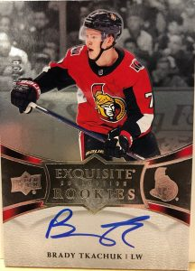 Exquisite Collection Platinum Rookie Auto Brady Tkachuk
