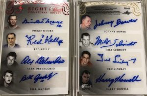 Pearl 8 Signatures Dickie Moore, Red Kelly, Alex Delvecchio, Bill Gadsby, Johnny Bower, Milt Schmidt, Ted Lindsay, Harry Howell
