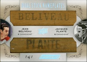 Dual Stick Nameplates Jean Beliveau, Jacques Plante