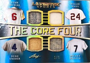 The Core 4 Relics Stan Musial, Willie Mays, Duke Snyder, Mickey Mantle