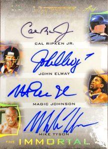 The Immortal 4 Signatures Cal Ripken Jr, John Elway, Magic Johnson, Mike Tyson