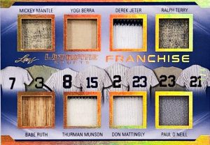 The Ultimate Franchise Relics Mickey Mantle, Yogi Berra, Derek jeter, Ralph Terry, Babe Ruth, Thurmon Munson, Don Mattingly, Paul O'Neill