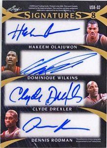 Ultimate Signatures 8 Back Hakeem Olajuwon, Dominique Wilkins, Clyde Drexler, Dennis Rodman