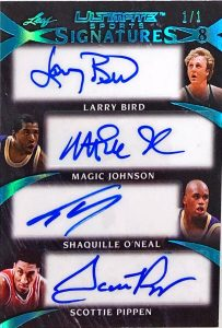 Ultimate Signatures 8 Front Larry Bird, Magic Johnson, Shaquille O'Neal, Scottie Pippen