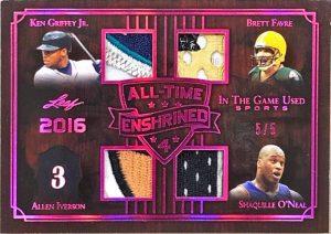 All-Time Enshrined 4 Relics Ken Griffey Jr., Allen Iverson, Brett Favre, Shaquille O'Neal