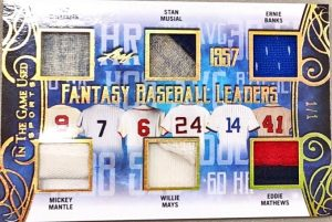 Fantasy Baseball Leaders 6 Relics Ted Williams, Mickey Mantle, Stan Musial, Willie Mays, Ernie Banks, Eddie Mathews
