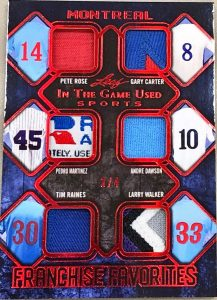 Franchise Favorites 6 Relics Pete Rose, Gary Carter, Pedro Martinez, Andre Dawson, Tim Raines, Larry Walker