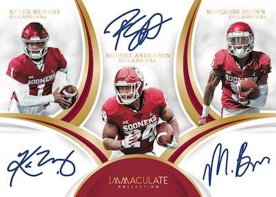 Immaculate Trios Auto Kyler Murray, Marquise Brown, Rodney Anderson MOCK UP