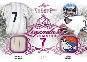 Legendary Numberes Dual Relics Mickey Mantle, John Elway MOCK UP