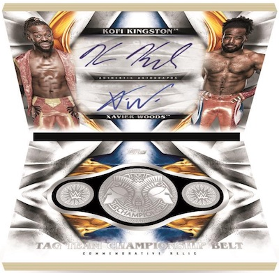 Tag Team Dual Auto and Championship Medallion Book Kofi Kingston, Xavier Woods MOCK UP