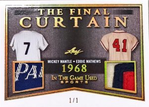 The Final Curtain Dual Relics Mickey Mantle, Eddie Matthews
