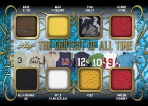 The Gr8est of All-Time 8 Relics Babe Ruth, Muhammad Ali, Jack Nicklaus, Wilt Chamberlain, Tom Brady, Pelé, Gordie Howe, Roger Federer MOCK UP