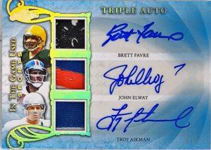 Triple Auto Brett Favre, John Elway, Troy Aikman