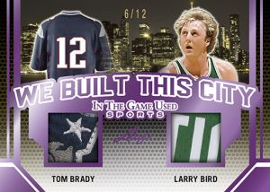 We Built This City Dual Relics Tom Brady, Larry Bird MOCK UP