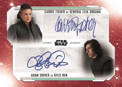 Dual Auto Carrie Fisher as General Leia Organa, Adam Driver as Kylo Ren