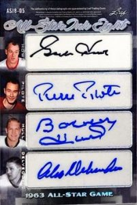 All-Star Ink 8 Auto Back Red Kelly, Bobby Baun, Ed Shack, Frank Mahovlich, Gordie Howe, Pierre Pilote, Bobby Hull, Alex Delvecchio