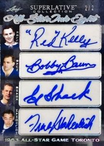 All-Star Ink 8 Auto Front Red Kelly, Bobby Baun, Ed Shack, Frank Mahovlich, Gordie Howe, Pierre Pilote, Bobby Hull, Alex Delvecchio
