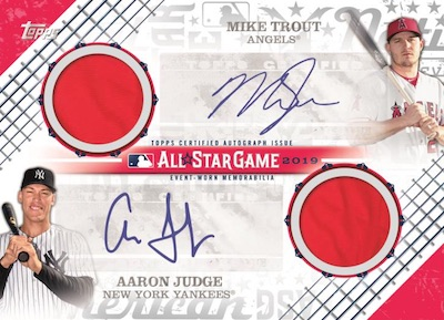 All-Star Stiches Dual Auto Relic Mike Trout, Aaron Judge