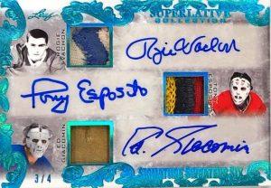 Signature Sweaters 6 Auto Front Rogie Vachon, Tony Esposito, Ed Giacomin, Bernie Parent, Glenn Resch, Gilles Meloche