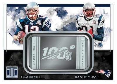 Silver NFL 100 Duals Tom Brady, Randy Moss MOCK UP
