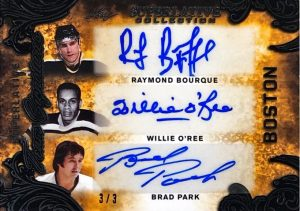 Superlative Team Signatures 6 Front Raymond Bourque, Willie O'Ree, Brad Park, Cam Neely, Phil Esposito, Johnny Bucyk