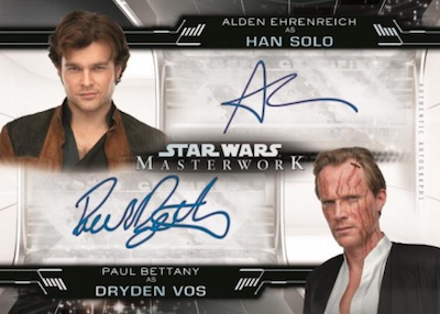 Dual Auto Alden Ehrenreich as Han Solo, Paul Bettany as Dryden Vos
