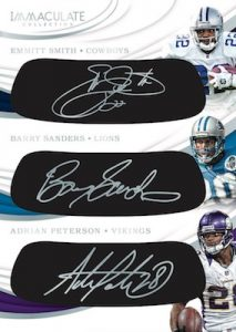 Eye Black Triple Autos Emmitt Smith, Barry Sanders, Adrian Peterson MOCK UP