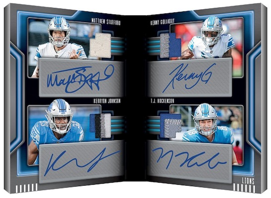 Front 4 Signatures Booklet Kenny Golladay, Kerryon Johnson, Matthew Stafford, T.J. Hockenson MOCK UP