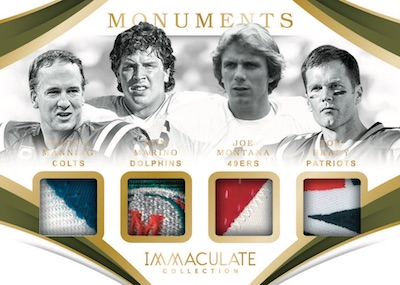 Immaculate Monuments Relics Dan Marino, Joe Montana, Peyton Manning, Tom Brady MOCK UP