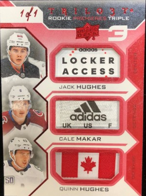 Base Red Foil Material Relics Triple Rookie Premieres Jack Hughes, Cale Makar, Quinn Hughes