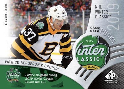 2019 Winter Classic Game-Used Pucks Patrice Bergeron MOCK UP